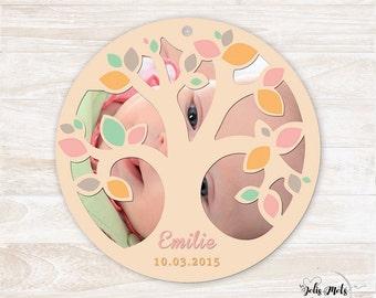 Birth/baptism round cut tree - customize