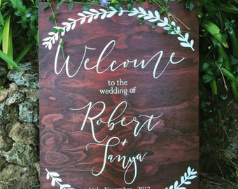 Personalised Wooden Wedding Welcome Sign