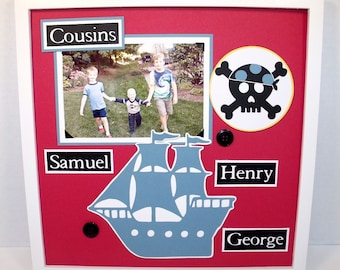 Cousins or Brothers Picture Frame - 12x12 Frame Included - Pirate Theme Shown  - Other Themes Available - You Choose Colors