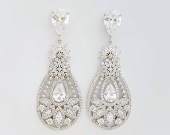 Crystal Wedding Earrings, Bridal Jewelry, Bridal Earrings, Zirconia Drop Earrings, Statement Earrings, Chandelier Earrings, Anastasia