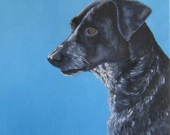 Original custom dog portrait painting from your photo, oil painting on canvas, pet portrait or any animal painting, example Pointer