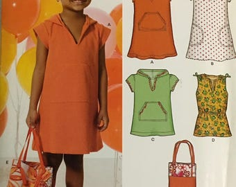 New Look Pattern 6822 Girls Dress, Tunic and Tote Bag UNCUT Size 3-8