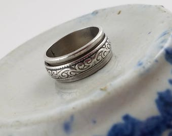Sterling silver Mens ring spinner ring Mexico sterling size 11  wedding band silver ring PH3040