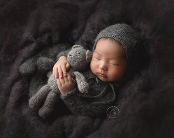 newborn bonnet match the footed romper, mohair bonnet for a baby boy, hand knitted photo prop, simple newborn bonnet
