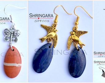 Shringara-Gemstone earrings, semi-precious earrings, Lapis Lazuli, Amazonite, Red Jasper, Agate, Earrings, Statement Earrings
