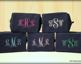 Set of 5 Monogrammed Cosmetic Bags - Personalized 3 Letter Monogram Waffle Weave Make Up Bag Bridesmaid Gift Wedding Gift