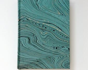 Helsinki Book - Blue with Black & Gold-foiled Marbling Casebound Notebook