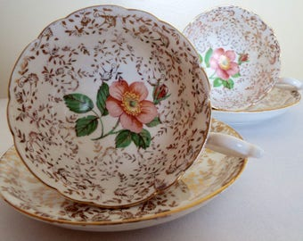 Vintage Gold Teacup and Saucer. English Gold and White Teacup With A Pink Rose Inside Cup. The Perfect Tea Cup For An Afternoon Tea Party