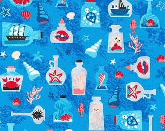 "Ships in a bottle on Blue by Pink Light Design, ""Seaside Treasures""  for Robert Kaufman, yard"