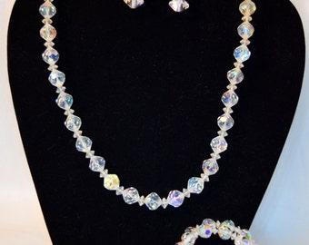 1950s vintage aurora borealis faceted crystal choker necklace, bracelet and screw back earring set