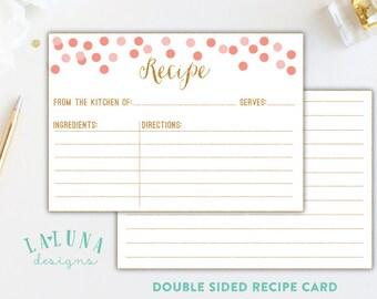 Printable Recipe Card, Bridal Shower Recipe Card, Recipe Cards, 3x5 Recipe Cards, Recipe Cards for Bridal Shower