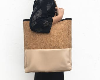 Pb_bag, leather bag in cappuccino and cork color, handmade, tote bag