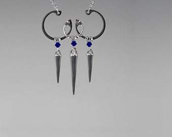 Swarovski Crystal Pendant With Silver Spikes, Swarovski Necklace, Industrial Jewelry, Cobalt Swarovski Crystal, Wire Wrapped, Amalthea v5
