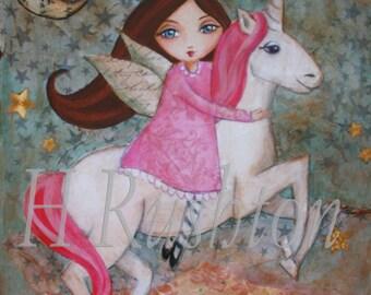 Unicorn Decor- Children Decor- Unicorn Art- Childrens Art-Mixed Media Art - Large scale art print 11x14 or 16x20
