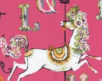 "Horse Fabric: Dear Stella Carousel fabric - 154 Pink 100% cotton fabric by the yard 36""x43"" (TT4)"