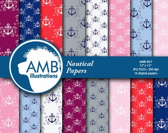 Nautical digital papers, Coastal papers, Nautical scrapbook papers, commercial use, AMB-807