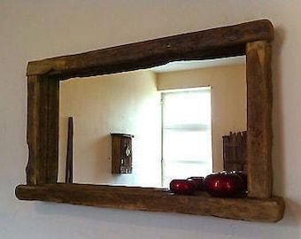 Rustic farmhouse mirror with shelf