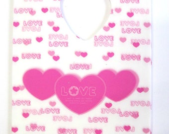 10 plastic bags with handle white 15x9cm pink heart love