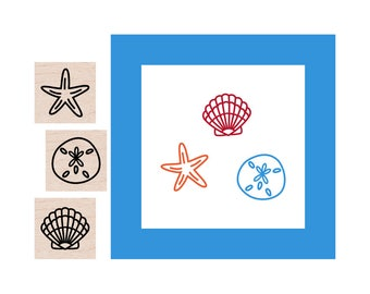 Mini Sea Shell and Sand Dollar and Starfish Rubber Stamp set