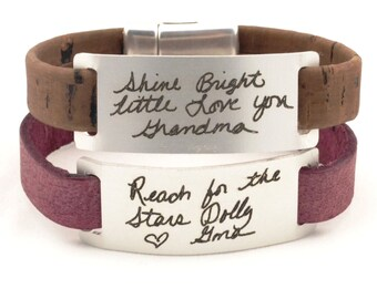 handwriting jewelry, custom signature bracelet, handwriting bracelet, memorial jewelry, personalized aluminum jewelry, engraved bracelet