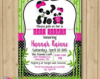Panda Baby Shower Invitation, Panda Invitation, Baby Shower Panda Invitation, It's a girl invitation, Printable Invitation, Baby Shower