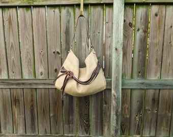 Boho Style Burlap Hobo Bag w/ Leather Strap and Detail
