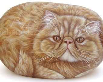 Custom Pet Portraits Hand Painted on a Sea Stone   Pet Portraits on Commission in Memory of your Beloved Pet Handmade by Roberto Rizzo