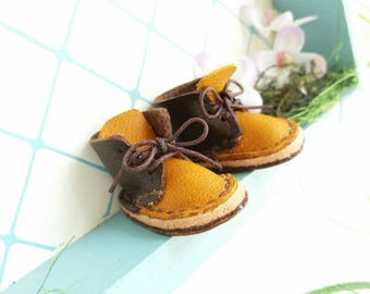 Lace Up Shoes Mini Yellow Dark Chocolate Brown Leather With Brown Laces Azone Pure Neemo M Size Neo Blythe Doll Boots