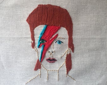 David bowie framed embroidery needle art