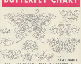 Modern Embroidery Pattern   Sublime Stitching Embroidery Patterns, Modern Hand Embroidery Design, Iron On Transfer - BUTTERFLY CHART