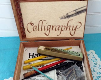 Calligraphy Kit - Writing Kit - 10 Nibs - Calligraphy lettering instruction booklet - Pen collector - Penmanship - Metallic feathers