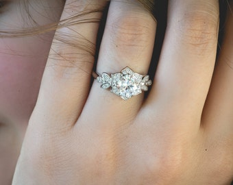 Art Deco Engagment Ring, Wedding Ring, Promise Ring, Flower Ring, Vintage Inspired Engagement Ring, Diamond Simulants, Sterling Silver