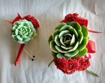 Matching Prom boutonniere and corsage