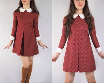 1960's Reproduction Mod Dress, Suzy Bishop style deep red polkadot, contrast Peter Pan collar and cuffs
