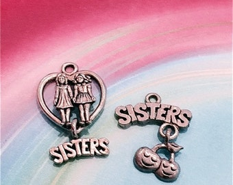 Sisters Charms - 4 pieces-(Antique Pewter Silver Finish)