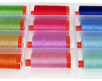 Bee in My Bonnet's Happy Colors 50 wt Thread Collection by Aurifil Box of 12