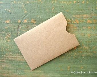 "100 Gift Card Sleeves, Gift Tag Sleeve, Credit Card Envelope, Business Card Sleeve, Key Card Sleeve, Recycled Kraft Brown, 2 3/8"" x 3 1/2"""