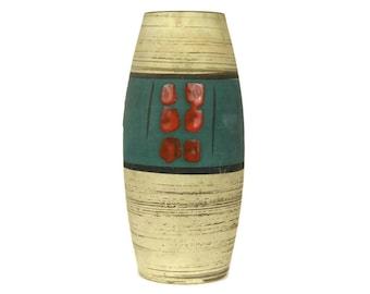 Mid Century Modern Ceramic Vase. Blue and Red Flower Vase. Vintage German Art Pottery.
