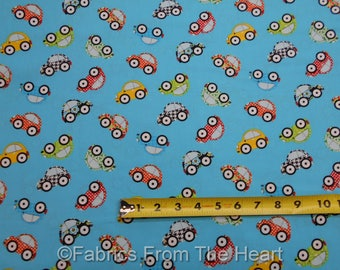 VW Bug Cars on Blue Retro  Are w There Yet?  BY YARDS Henry Glass Cotton Fabric