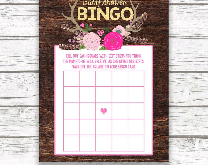 Pink and Gold Boho Baby Shower Bingo Game Printable, Feather Antler Gold Foil Printable Baby Shower Games, Baby Girl Shower