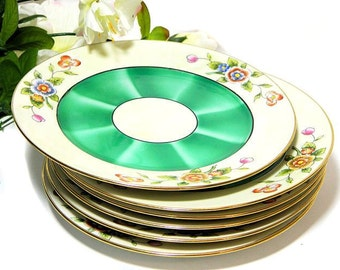 Six Noritake Art Deco Hand Painted Dessert Plates Green Shaded Centers