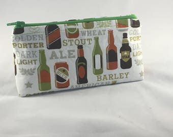 A Cold One Mini Zippered Bag-Cosmetic Bag-Craft Bag-Pencil Case-Gift-Storage Bag- Beer Gift- Beer Lover- Craft Beer Gift- Drinking Gift