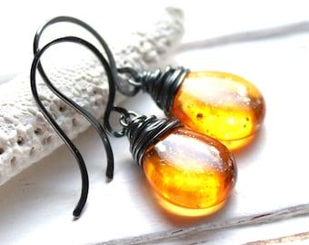 SALE - Orange Yellow Glass Earrings, Sunshine Dust Oxidized Wire Wrapped Czech Glass Teardrop, Sterling Silver Earwires