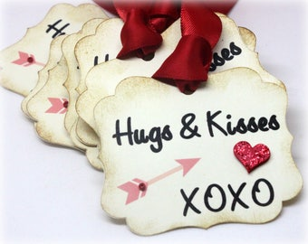 Valentine's Day Tags (Double Layered) - Hugs and Kisses - Vintage Style Gift Tags - 3D Heart Favors - Handmade Cupid Arrow Labels (Set of 8)