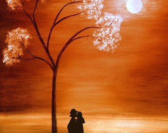 Love- Under the moon. Abstract Valentine Art Print. Silhouette painting. Free Shipping inside US.