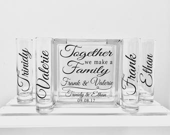 Family Blended Unity Sand Ceremony Glass Containers - Glass Block with Together we make a Family - Personalized Side Vessels with Names