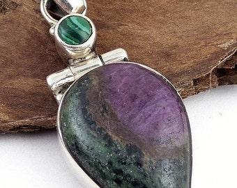 JEWEL Ruby zoizite pendant Ruby zoizite, jewelry, healing stone reiki Crystal healing balancing J8.10 heart chakra