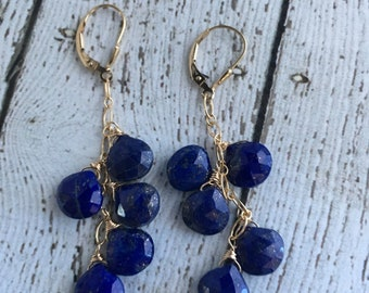 AAA Lapis and 14k Gold Fill Earrings - Free U.S. Shipping