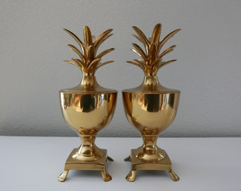 Vintage Pair Brass Footed Pineapple Urns Containers Hollywood Regency