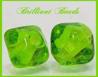 Transparent Spring Green Bicone Glass Beads - Handmade Lampwork Bead Pair SRA, Made To Order